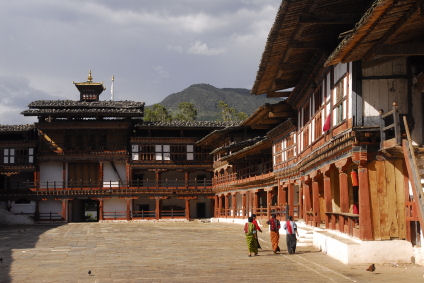 Bhutan inside the courtyard of a dzong