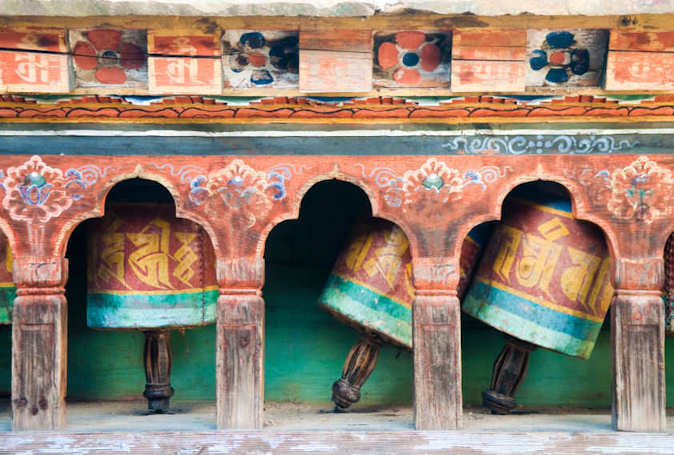 Bhutan old prayer wheel